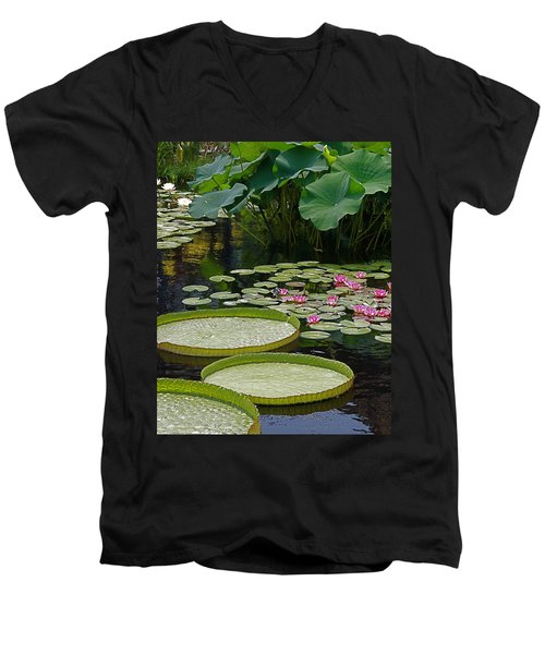 Men's V-Neck T-Shirt featuring the photograph Water Lilies And Platters And Lotus Leaves by Byron Varvarigos