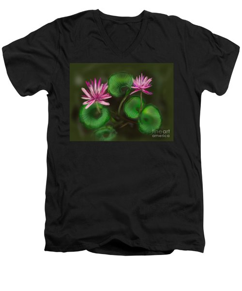 Men's V-Neck T-Shirt featuring the digital art Water Lilies by Christine Fournier