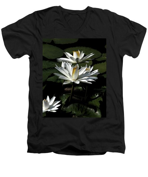 Water Lilies Men's V-Neck T-Shirt by John Freidenberg