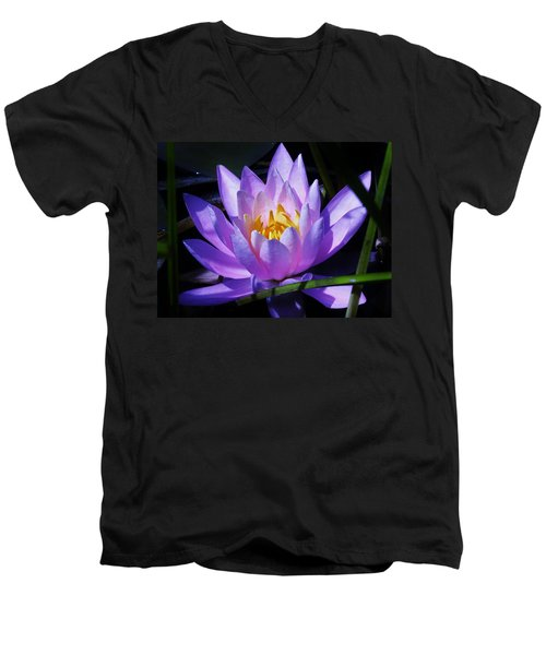 Water Lily Blues Men's V-Neck T-Shirt by Sherman Perry