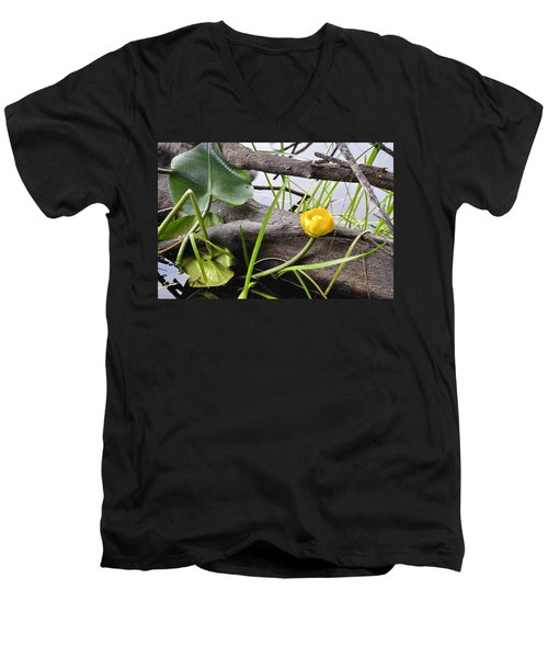 Men's V-Neck T-Shirt featuring the photograph Water Lily by Cathy Mahnke