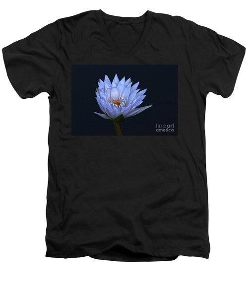 Water Lily Shades Of Blue And Lavender Men's V-Neck T-Shirt