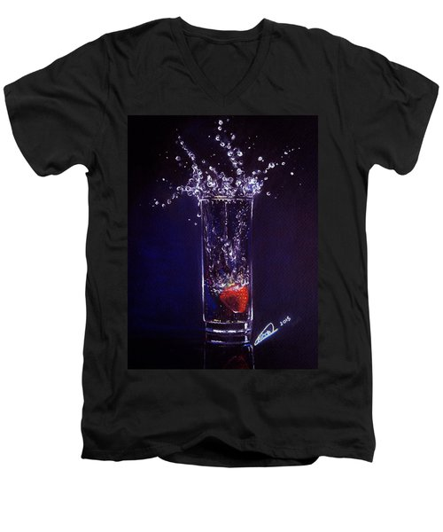 Water Splash Reflection Men's V-Neck T-Shirt
