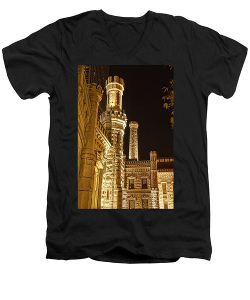 Water Tower At Night Men's V-Neck T-Shirt