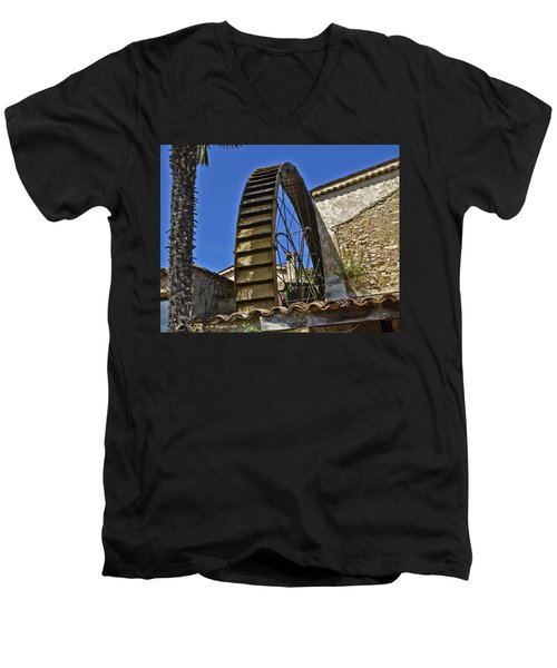 Men's V-Neck T-Shirt featuring the photograph Water Wheel At Moulin A Huile Michel by Allen Sheffield