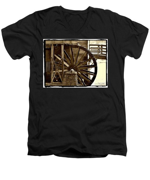 Men's V-Neck T-Shirt featuring the photograph Water Wheel At The Grist Mill by Tara Potts