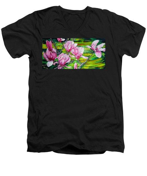 Watercolor Exercise Magnolias Men's V-Neck T-Shirt