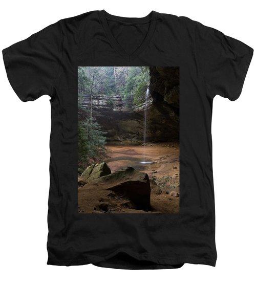 Waterfall At Ash Cave Men's V-Neck T-Shirt