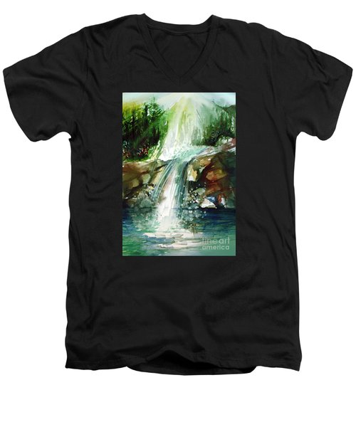 Men's V-Neck T-Shirt featuring the painting Waterfall Expression by Allison Ashton
