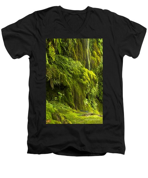 Men's V-Neck T-Shirt featuring the photograph Waterfall In Green by Bryan Keil