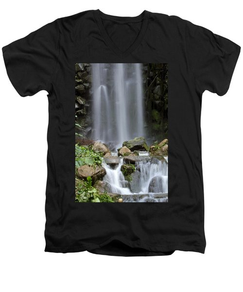 Men's V-Neck T-Shirt featuring the photograph Waterfall In Singapore by Shoal Hollingsworth