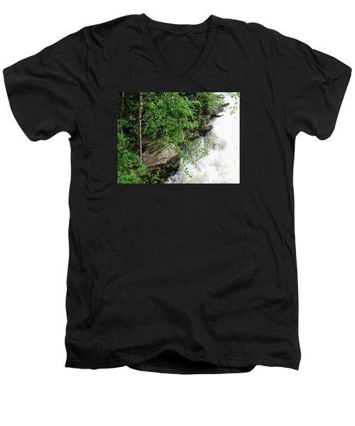 Waterfall Men's V-Neck T-Shirt by Oleg Zavarzin