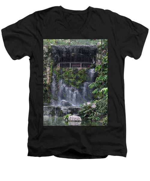 Men's V-Neck T-Shirt featuring the painting Waterfall by Sergey Lukashin