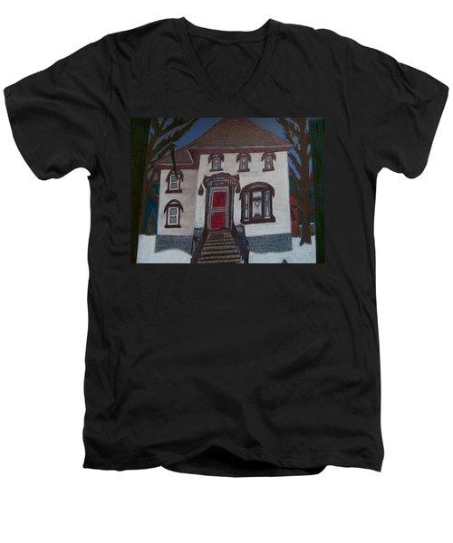 Historic 7th Street Home In Menominee Men's V-Neck T-Shirt by Jonathon Hansen