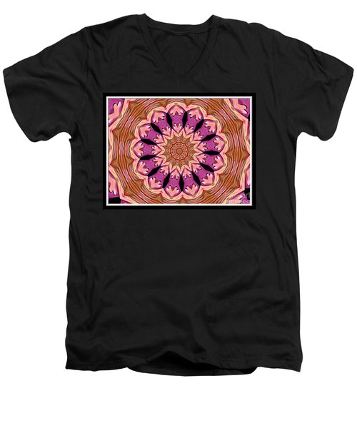 Men's V-Neck T-Shirt featuring the photograph Waterlily Flower Kaleidoscope 2 by Rose Santuci-Sofranko