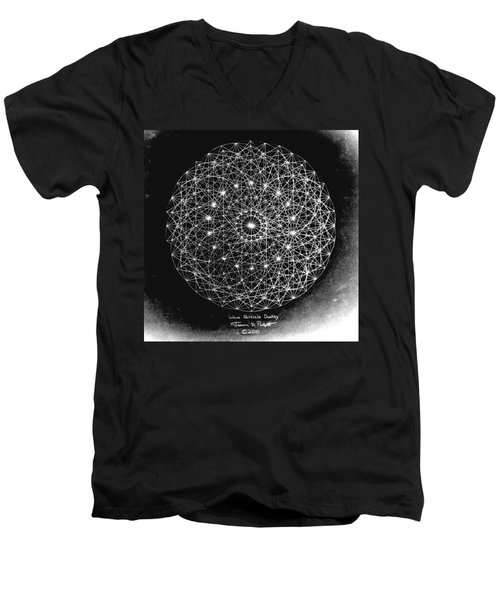 Men's V-Neck T-Shirt featuring the drawing Wave Particle Duality Black White by Jason Padgett