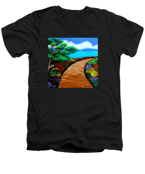 Men's V-Neck T-Shirt featuring the painting Way To The Sea by Cyril Maza