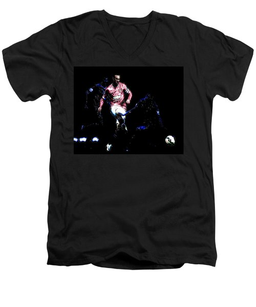 Wayne Rooney Working Magic Men's V-Neck T-Shirt by Brian Reaves