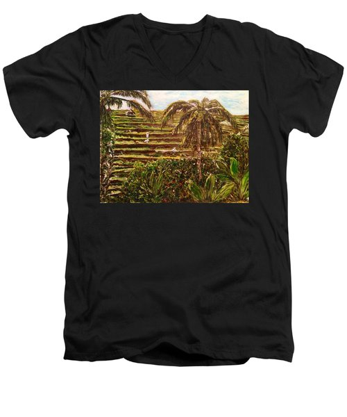 Men's V-Neck T-Shirt featuring the painting We Work Hard For The Money by Belinda Low
