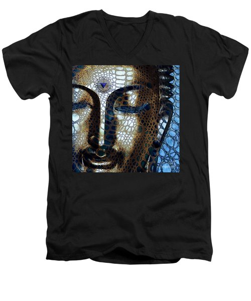Web Of Dharma - Modern Blue Buddha Art Men's V-Neck T-Shirt by Christopher Beikmann