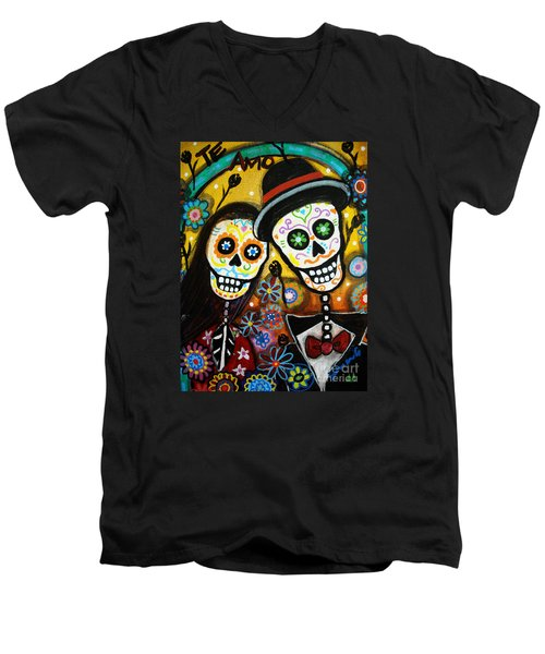 Wedding Dia De Los Muertos Men's V-Neck T-Shirt by Pristine Cartera Turkus