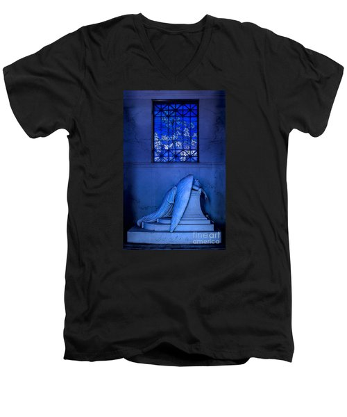 Weeping Angel Men's V-Neck T-Shirt by Jerry Fornarotto