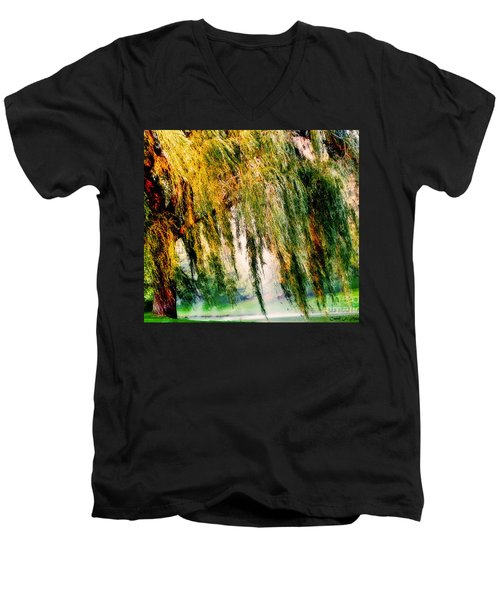 Weeping Willow Tree Painterly Monet Impressionist Dreams Men's V-Neck T-Shirt by Carol F Austin