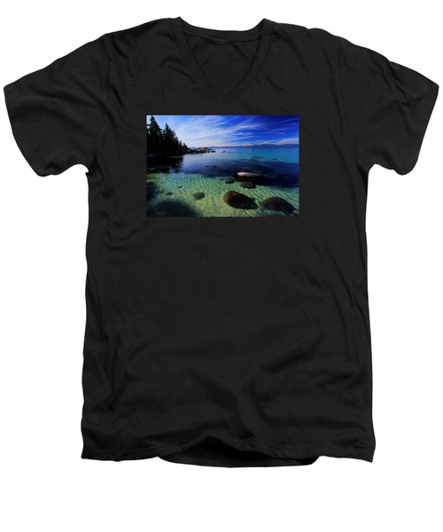 Men's V-Neck T-Shirt featuring the photograph Welcome To Bliss Beach by Sean Sarsfield