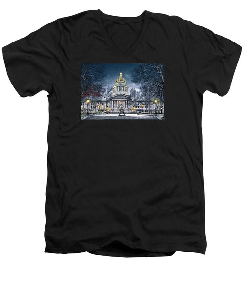 West Virginia State Capitol Men's V-Neck T-Shirt by Mary Almond