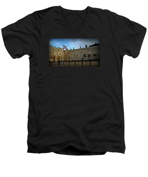 Western Wall And Israeli Flag Men's V-Neck T-Shirt by Stephen Stookey