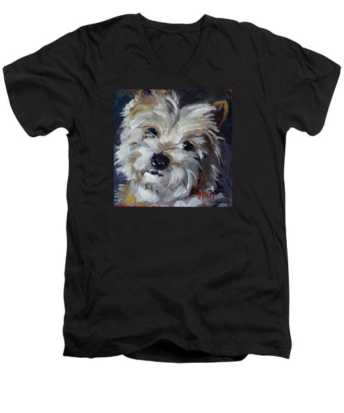 Westie Mix Men's V-Neck T-Shirt by Pattie Wall