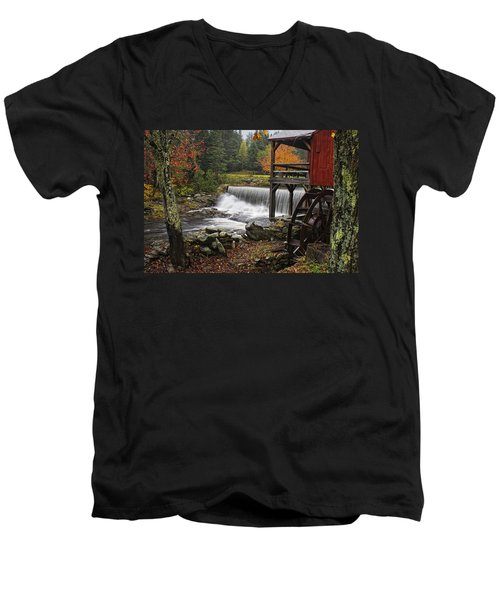 Weston Grist Mill Men's V-Neck T-Shirt by Priscilla Burgers