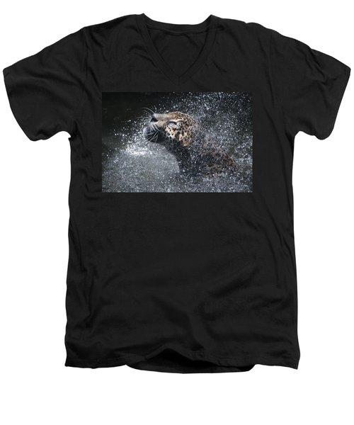 Wet Jaguar  Men's V-Neck T-Shirt by Shoal Hollingsworth