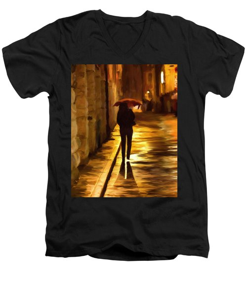 Wet Rainy Night Men's V-Neck T-Shirt by Michael Pickett