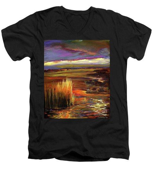 Wetlands Sunset Iv Men's V-Neck T-Shirt