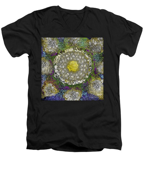 Men's V-Neck T-Shirt featuring the digital art What Kind Of Sun IIi by Carol Jacobs