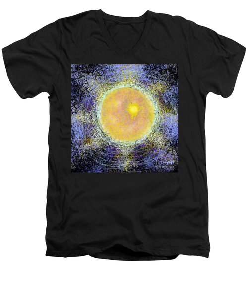 Men's V-Neck T-Shirt featuring the digital art What Kind Of Sun V by Carol Jacobs