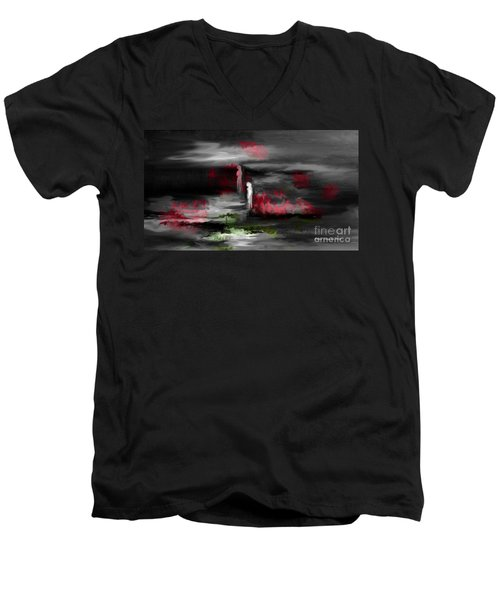 Men's V-Neck T-Shirt featuring the painting What Will Tomorrow Bring by Annie Zeno