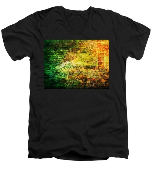 Men's V-Neck T-Shirt featuring the mixed media When Past And Present Intersect #1 by Sandy MacGowan