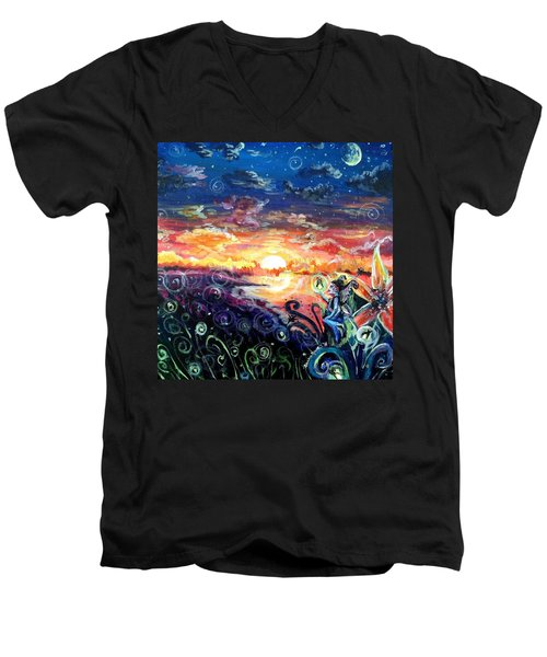 Men's V-Neck T-Shirt featuring the painting Where The Fairies Play by Shana Rowe Jackson