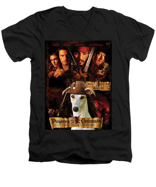 Whippet Art - Pirates Of The Caribbean The Curse Of The Black Pearl Movie Poster Men's V-Neck T-Shirt