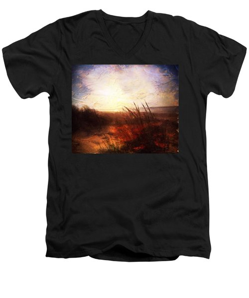 Whispering Shores By M.a Men's V-Neck T-Shirt