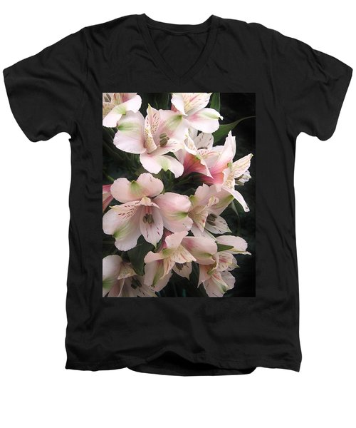 Men's V-Neck T-Shirt featuring the photograph White And Pink Peruvian Lilies by Diane Alexander