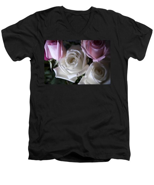Men's V-Neck T-Shirt featuring the photograph White And Pink Roses by Jennifer Ancker