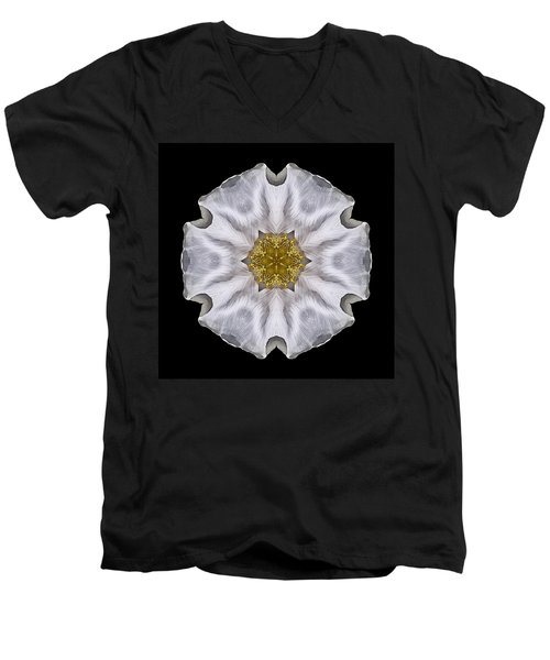 White Beach Rose I Flower Mandala Men's V-Neck T-Shirt by David J Bookbinder