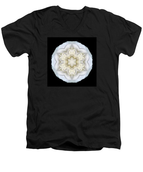 White Begonia II Flower Mandala Men's V-Neck T-Shirt by David J Bookbinder