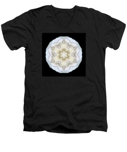 White Begonia II Flower Mandala Men's V-Neck T-Shirt