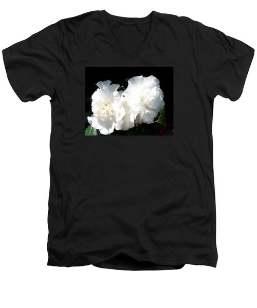 Men's V-Neck T-Shirt featuring the photograph White Begonia  by Sharon Duguay