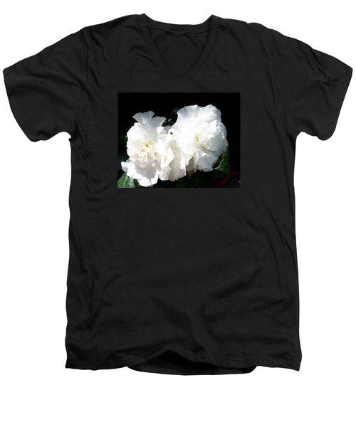 White Begonia  Men's V-Neck T-Shirt by Sharon Duguay