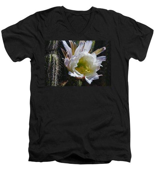White Cactus Bloom Men's V-Neck T-Shirt